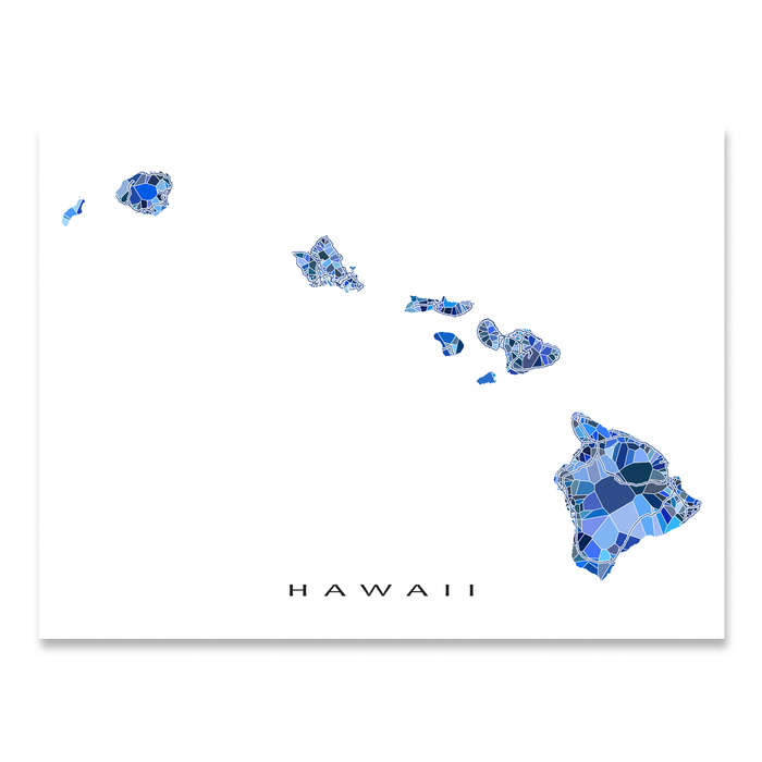 Hawaii map art print in blue shapes designed by Maps As Art.
