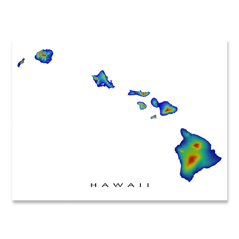 Hawaii Map Print, Hawaiian Islands, USA, Rainbow