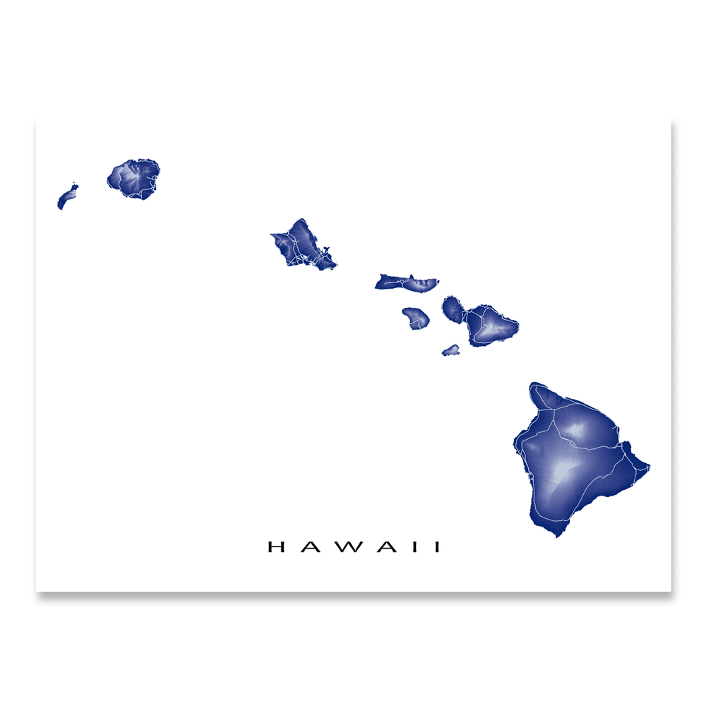 Hawaii map print with natural island landscape and main roads in Navy designed by Maps As Art.