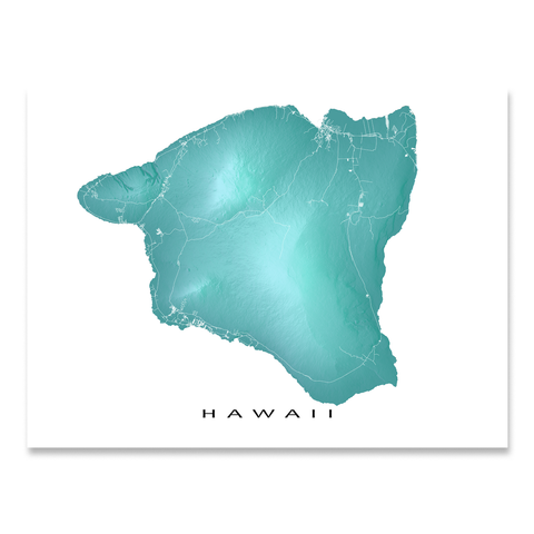 Big Island Hawaii Map Print, Hawaii, USA