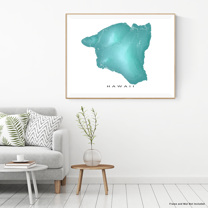 Big Island Hawaii map print with natural landscape and main roads in aqua tints designed by Maps As Art.