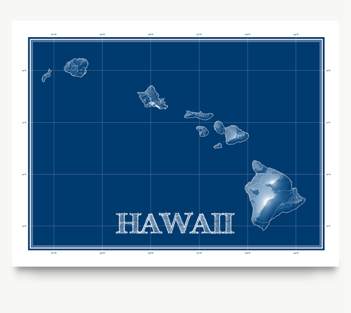 Hawaii state blueprint map art print designed by Maps As Art.