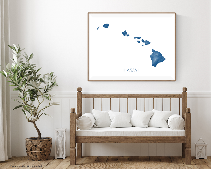 Hawaii islands map print wooden bench home decor  by Maps As Art.