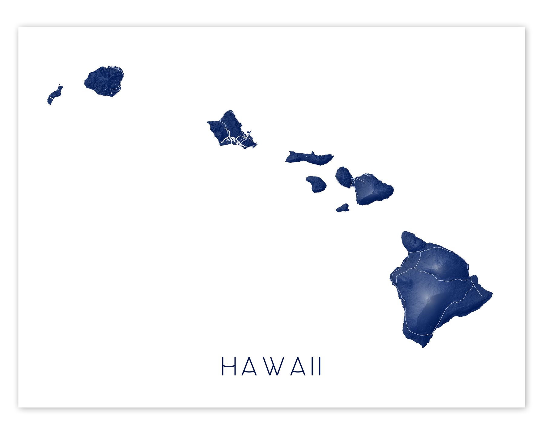 Hawaii islands map print in Midnight by Maps As Art.