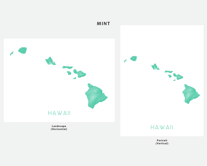 Hawaii islands map print in Mint by Maps As Art.