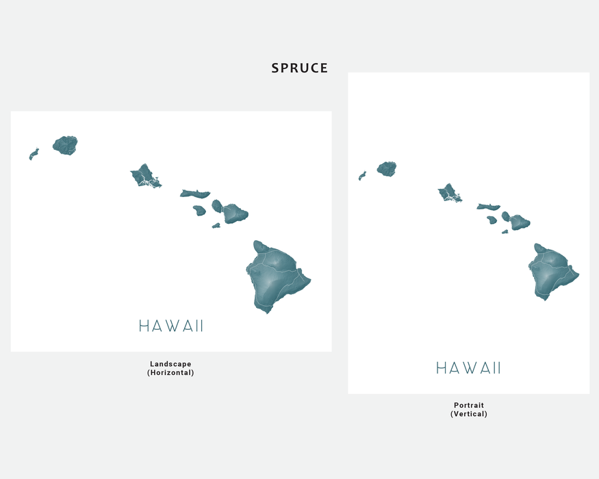 Hawaii islands map print in Spruce by Maps As Art.