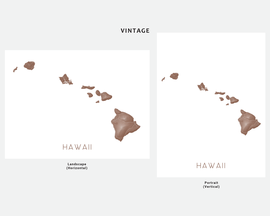 Hawaii islands map print in Vintage by Maps As Art.