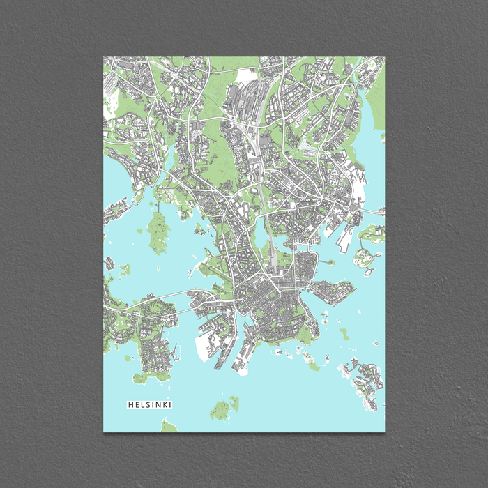 Helsinki, Finland map art print with city streets and buildings designed by Maps As Art.