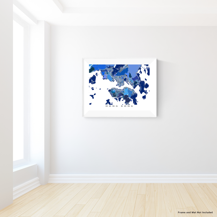 Hong Kong map art print in blue shapes designed by Maps As Art.