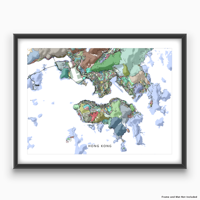 Hong Kong map art print in colorful shapes designed by Maps As Art.