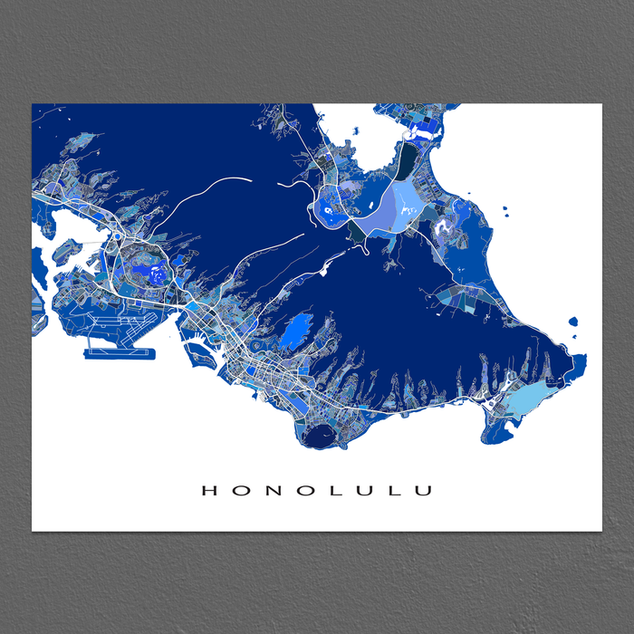 Honolulu, Oahu, Hawaii map art print in blue shapes designed by Maps As Art.