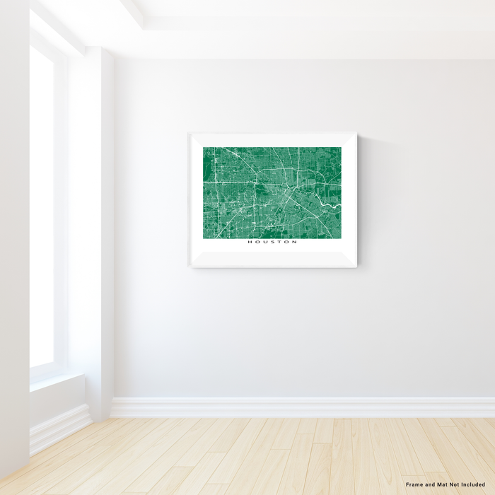 Houston, Texas map print with city streets and roads in Green designed by Maps As Art.