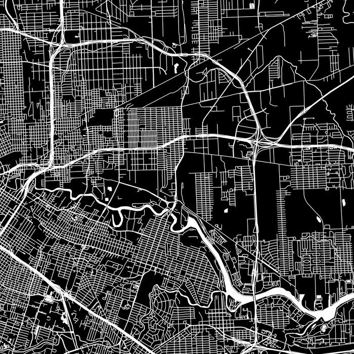 Houston, Texas map print close-up with city streets and roads designed by Maps As Art.