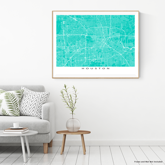 Houston, Texas map print with city streets and roads in Turquoise designed by Maps As Art.