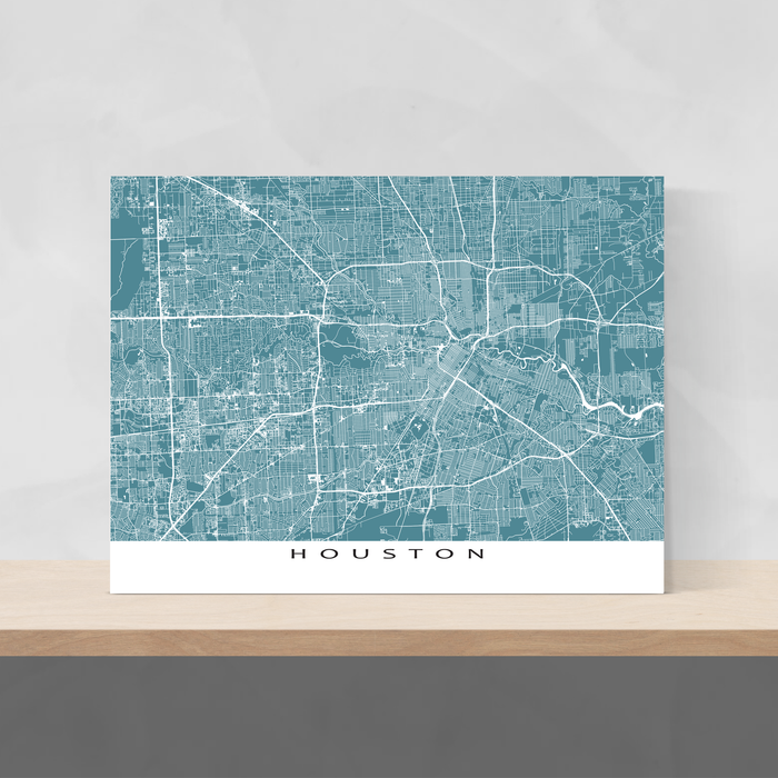 Houston, Texas map print with city streets and roads in Marine designed by Maps As Art.