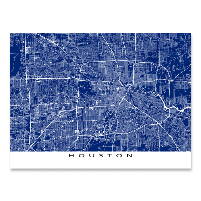 Houston, Texas map print with city streets and roads in Navy designed by Maps As Art.