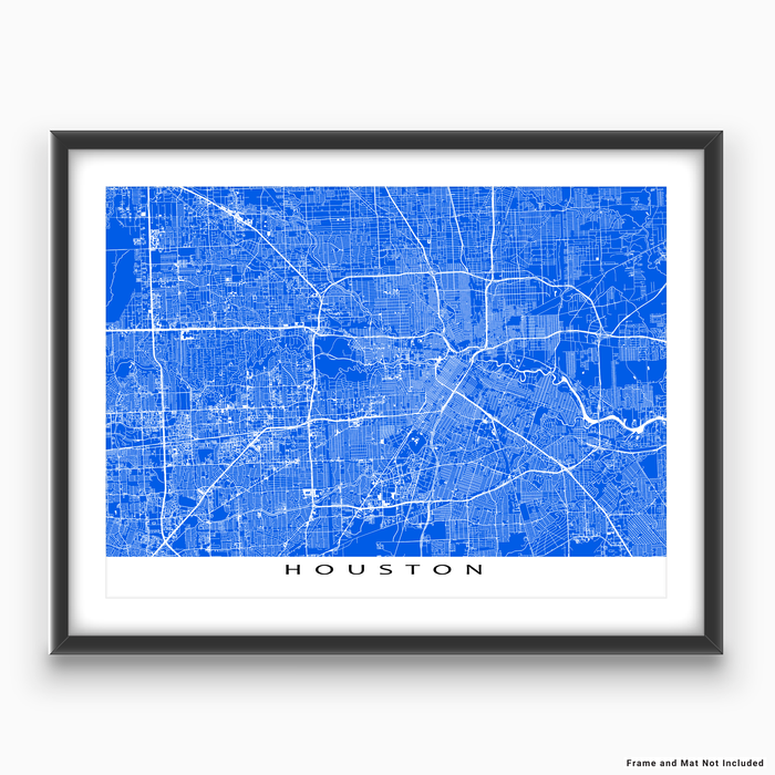 Houston, Texas map print with city streets and roads in Blue designed by Maps As Art.