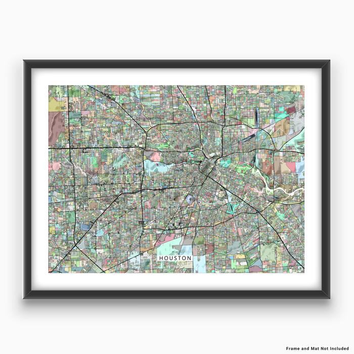 Houston, Texas map art print in colorful shapes designed by Maps As Art.