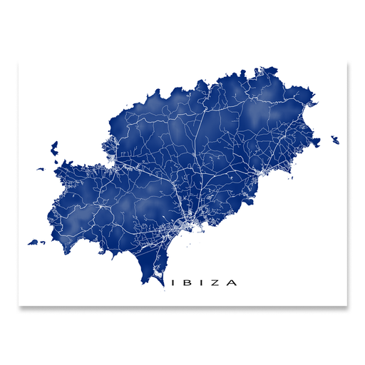 Ibiza, Spain map print with natural landscape and island streets in Navy designed by Maps As Art.