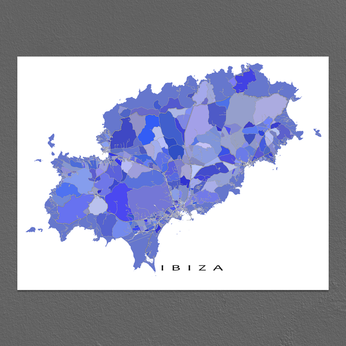 Ibiza, Spain map art print in blue, purple and lavender shapes designed by Maps As Art.