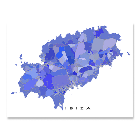 Ibiza Map Print, Spain, Purple
