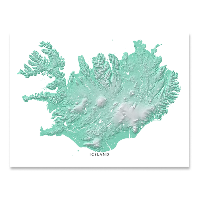 Iceland map print with natural landscape in aqua tints designed by Maps As Art.