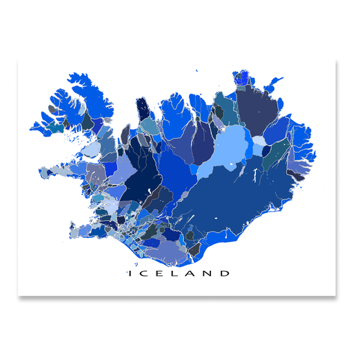 Iceland map art print in blue shapes designed by Maps As Art.