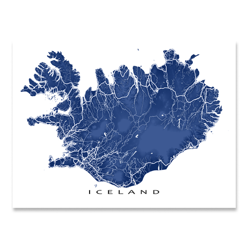 Iceland map print with natural landscape and main roads in Navy designed by Maps As Art.