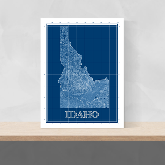 Idaho state blueprint map art print designed by Maps As Art.