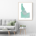 Idaho state map print with natural landscape in aqua tints designed by Maps As Art.