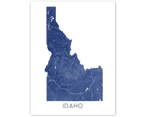 Idaho state map print in Midnight by Maps As Art.