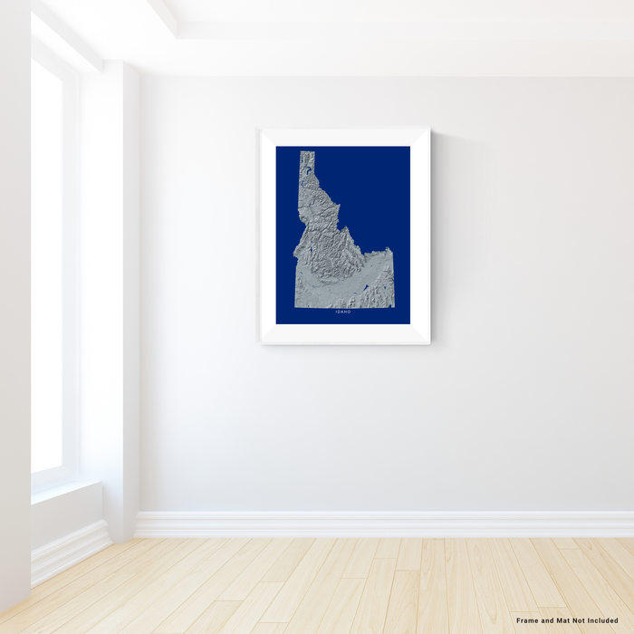 Idaho state map print with natural landscape in greyscale and a navy blue background designed by Maps As Art.
