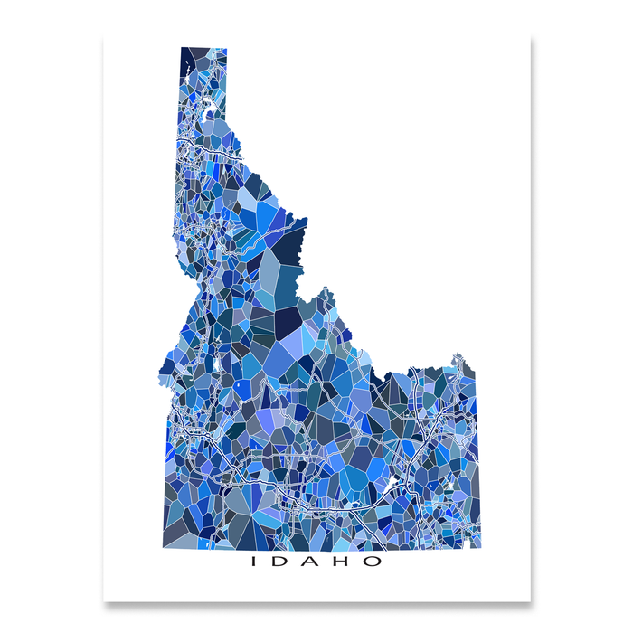 Idaho state map art print in blue shapes designed by Maps As Art.