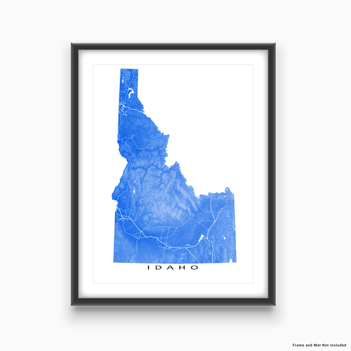Idaho state map print with natural landscape and main roads in Blue designed by Maps As Art.