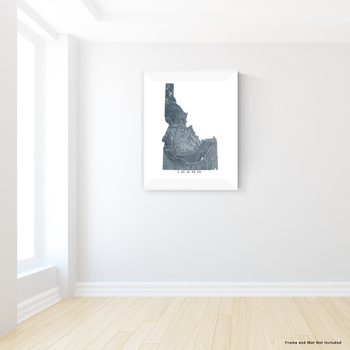 Idaho state map print with natural landscape and main roads in Slate designed by Maps As Art.