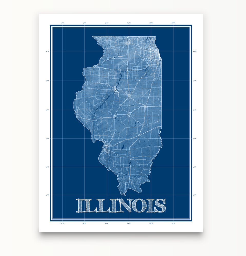 Illinois state blueprint map art print designed by Maps As Art.