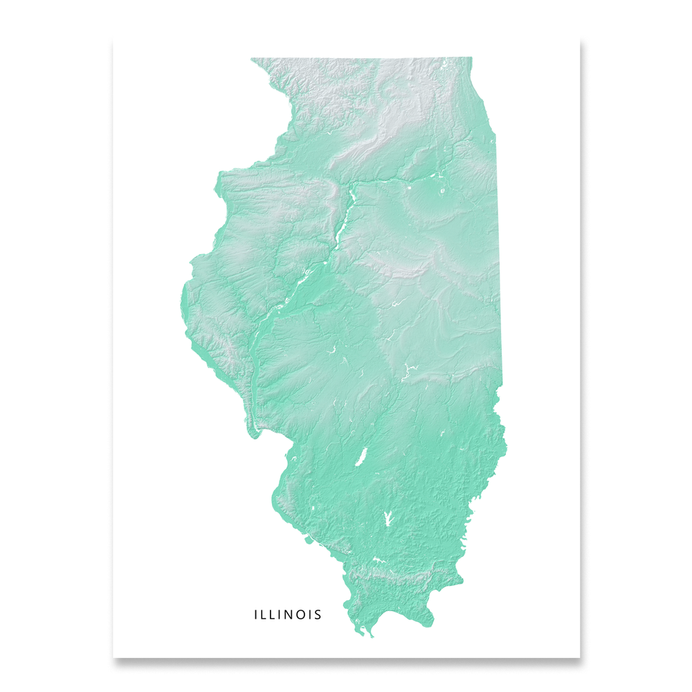 Illinois Map Print, Aqua Landscape