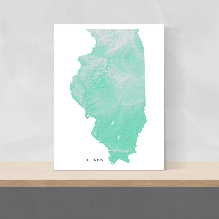 Illinois state map print with natural landscape in aqua tints designed by Maps As Art.