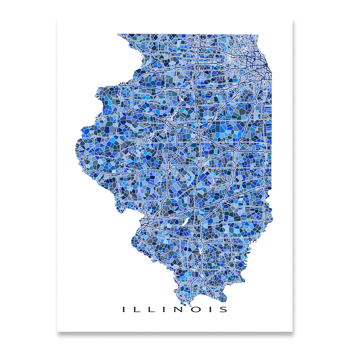 Illinois Map Print, IL State