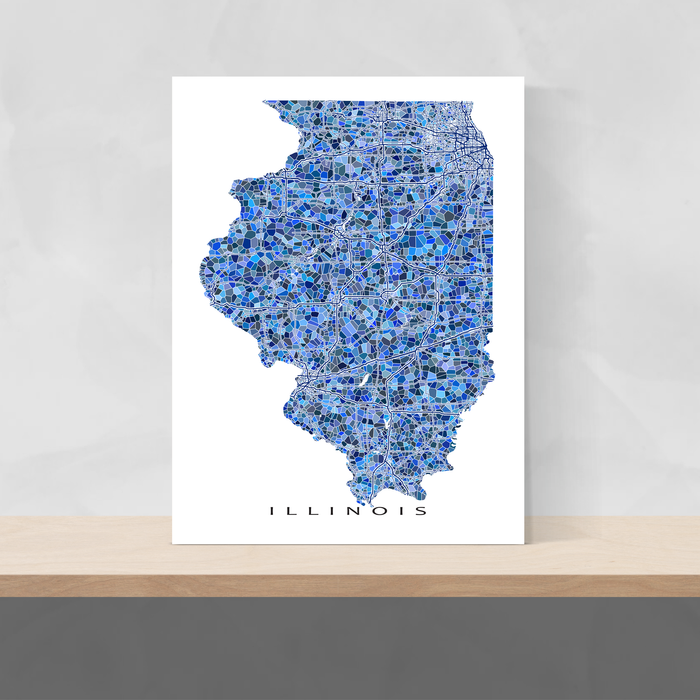 Illinois state map art print in blue shapes designed by Maps As Art.