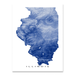 Illinois map print with natural landscape and main roads in Navy designed by Maps As Art.