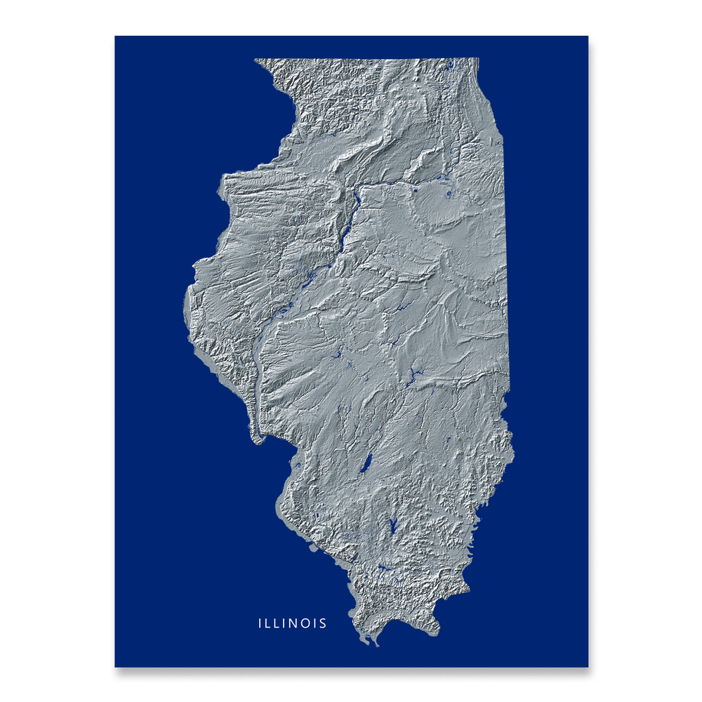 Illinois state map print with natural landscape in greyscale and a navy blue background designed by Maps As Art.