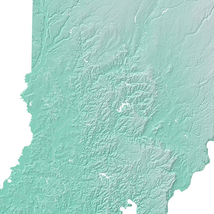 Indiana state map print with natural landscape in aqua tints designed by Maps As Art.
