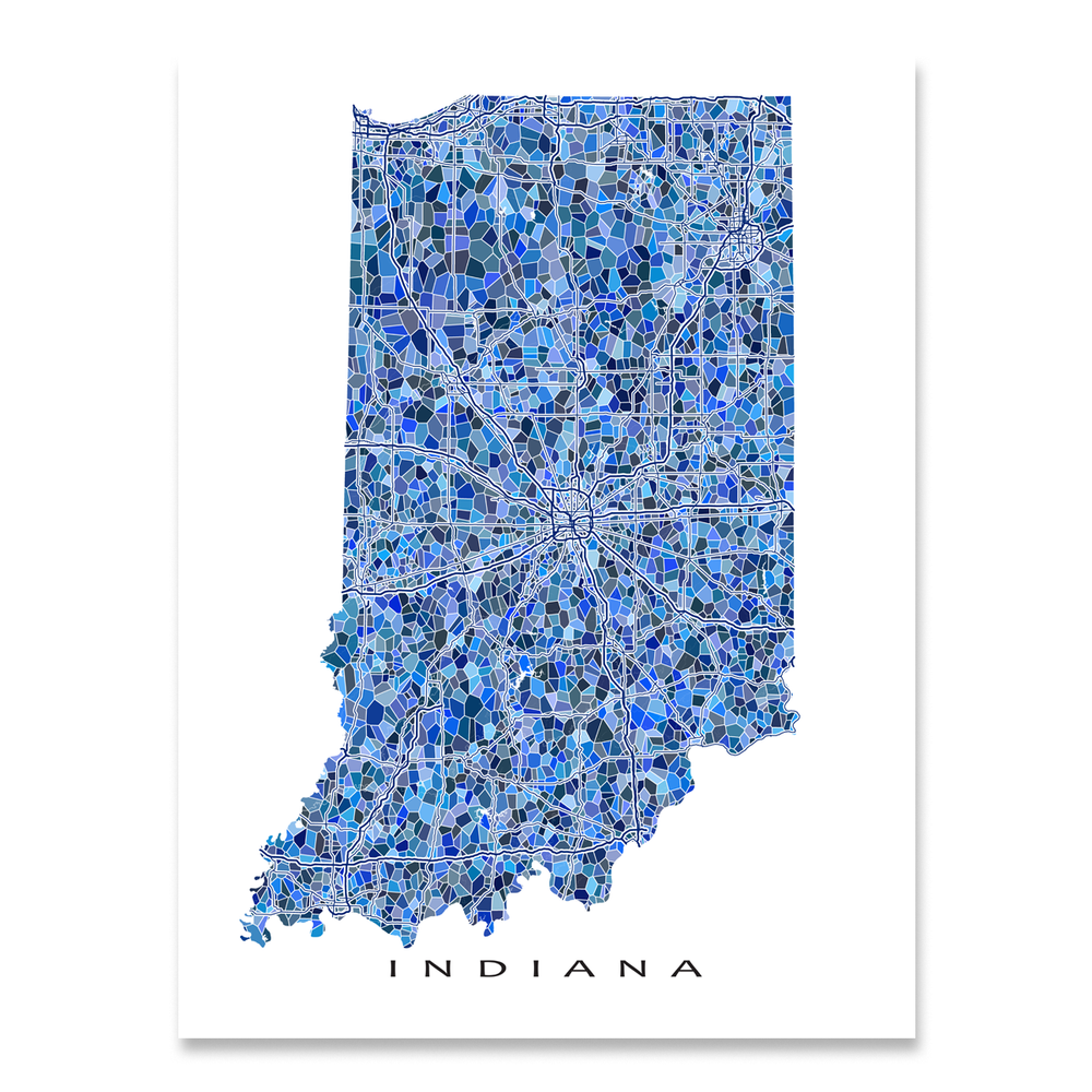 Indiana map art print in blue shapes designed by Maps As Art.