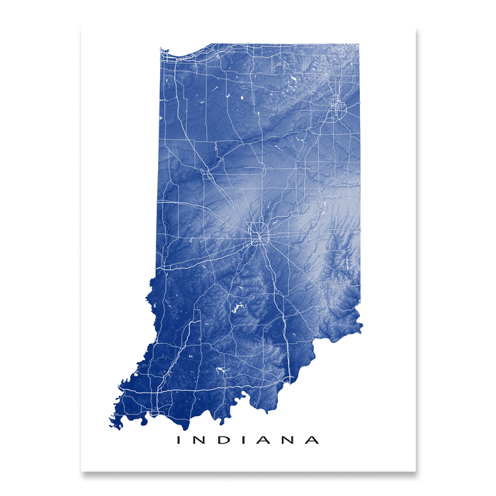 Indiana map print with natural landscape and main roads in Navy designed by Maps As Art.