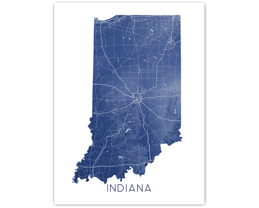 Indiana state map print in Midnight by Maps As Art.