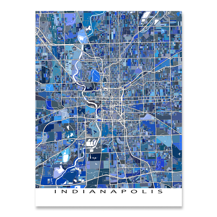 Indianapolis, Indiana map art print in blue shapes designed by Maps As Art.