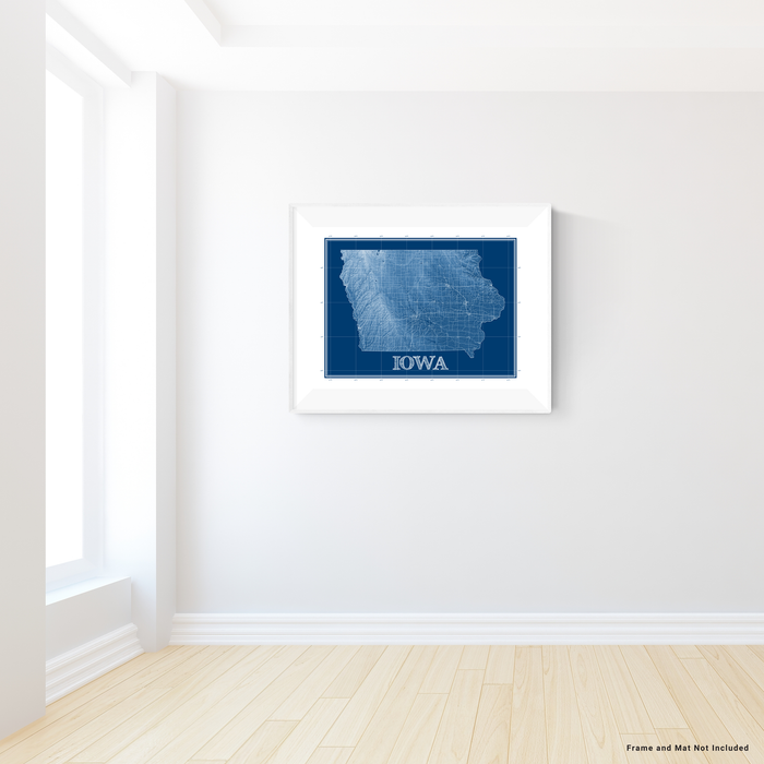 Iowa state blueprint map art print designed by Maps As Art.