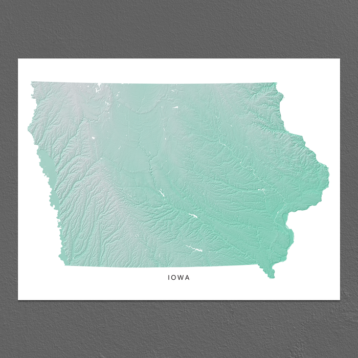 Iowa Map Print, Aqua Landscape