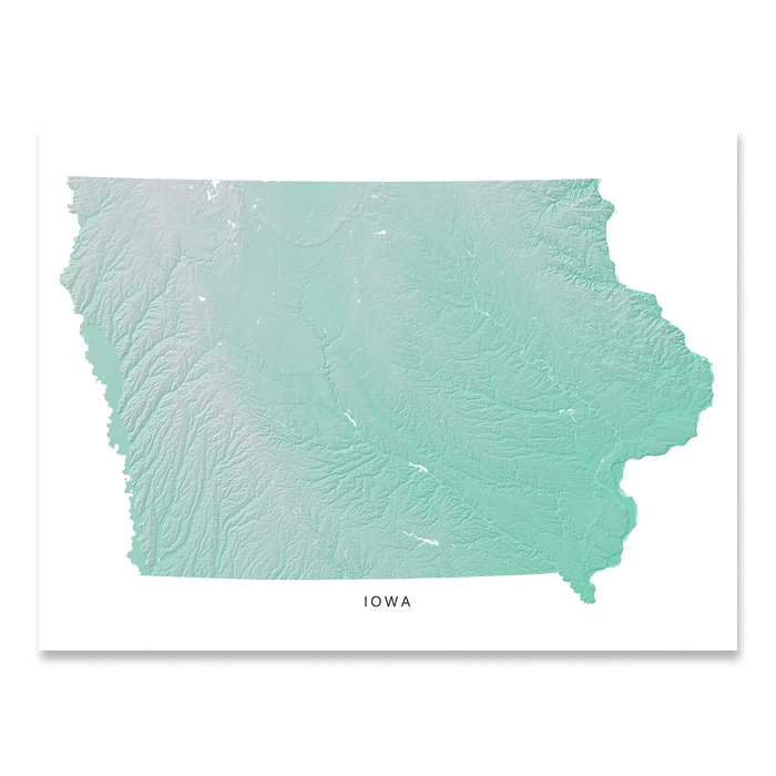 Iowa state map print with natural landscape in aqua tints designed by Maps As Art.